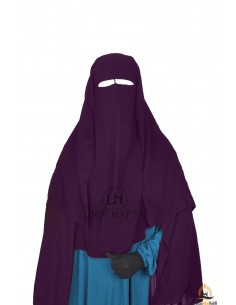 Three Layer Flap Niqab 1m25 Umm Hafsa - Purple