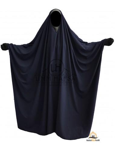 Big Jilbab Saoudien Umm Hafsa Col V - Bleu