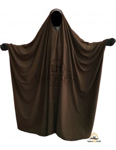 OPEN V NECK Big Jilbab 1pc Brown Umm Hafsa - Brown