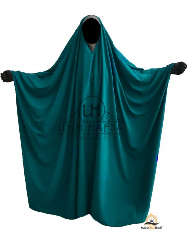 Big Jilbab Saoudien Umm Hafsa Col V - Vert canard