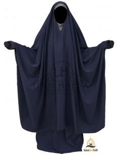 "Big Jilbab 2 pièces Umm Hafsa Col ""V"" – Bleu"