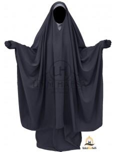 "Big Jilbab 2 pièces Umm Hafsa Col ""V"" – Gris"