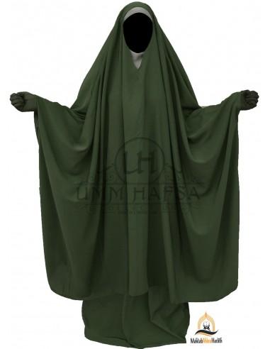 "Big Jilbab 2 pièces Umm Hafsa Col ""V"" – Kaki"