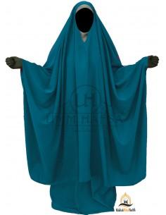 "Big Jilbab 2 pièces Umm Hafsa Col ""V"" – Vert Canard"
