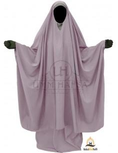 "Big Jilbab 2 pièces Umm Hafsa Col ""V"" – Taupe"