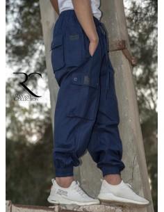 Sarouel Pantalon Cargo Rayane - Bleu