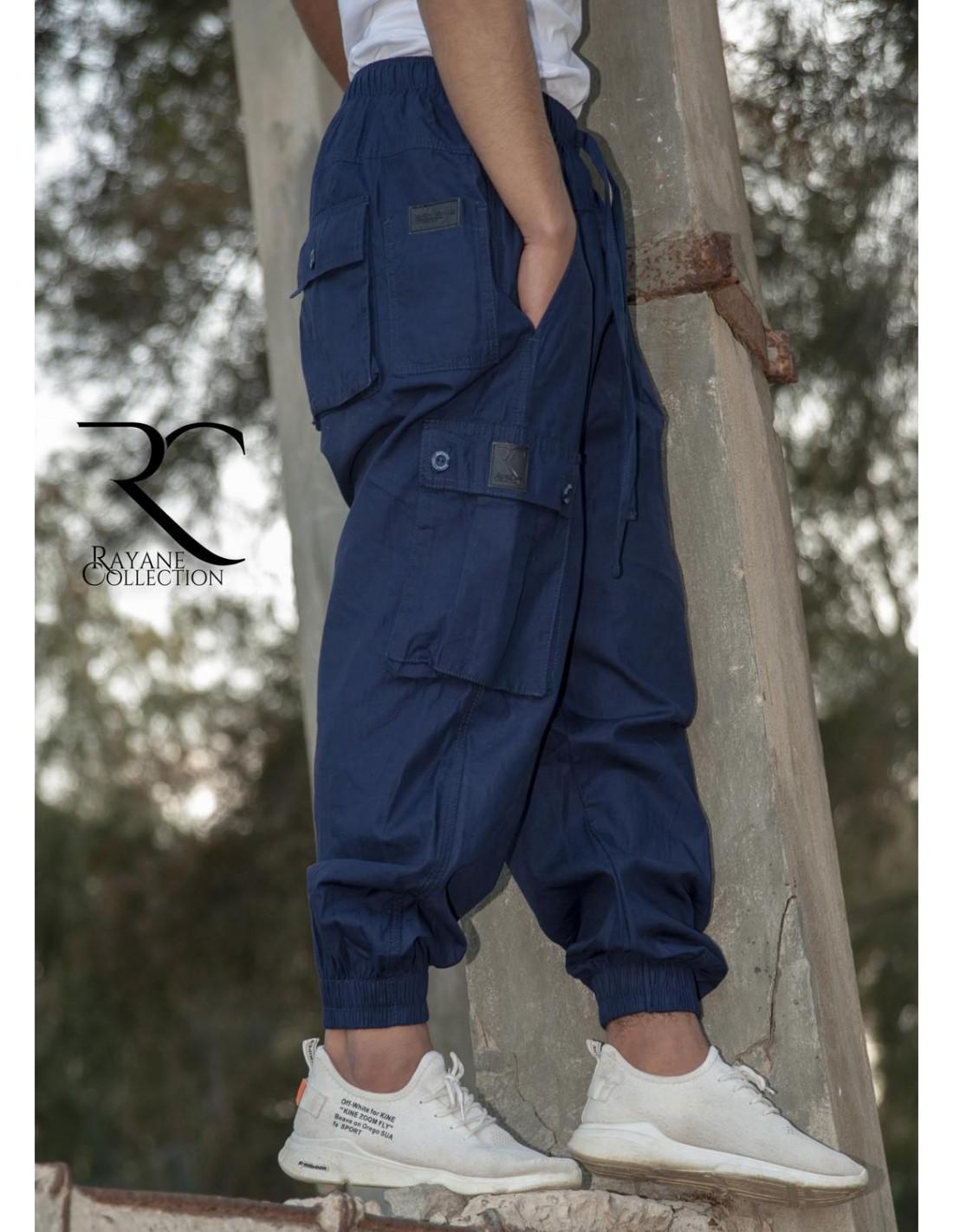 Sarouel pantalon Cargo homme 100% Coton bleu de Rayane Collection