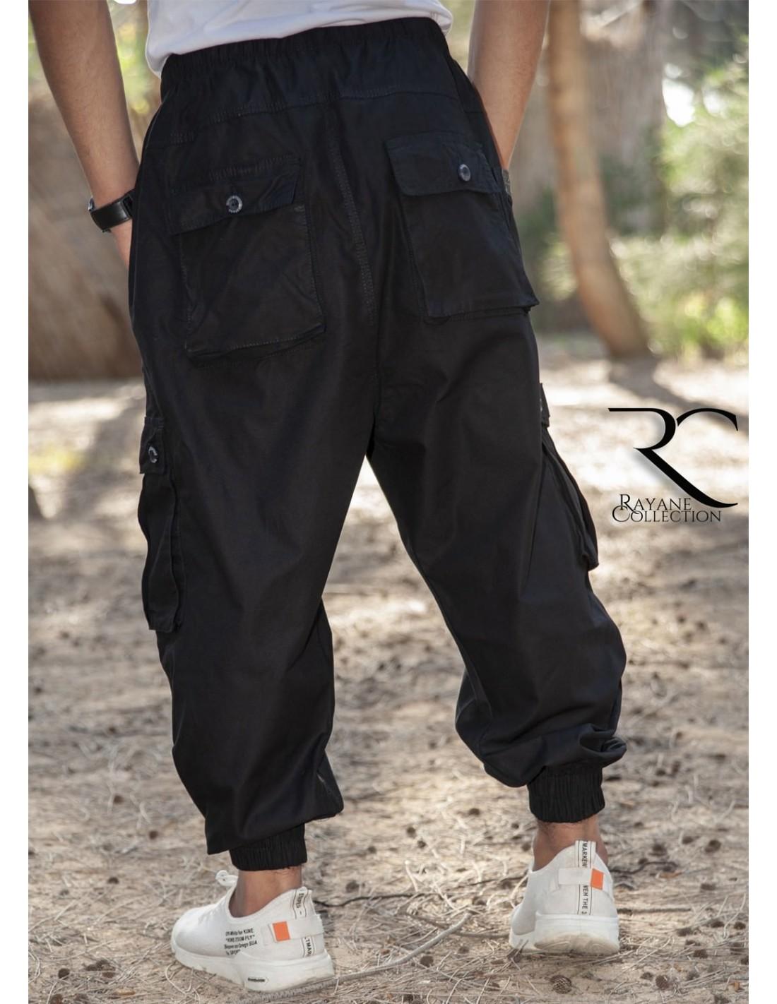 Sarouel pantalon Cargo homme 100% Coton noir de Rayane Collection