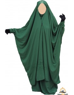 "Two Piece Jilbab Snap Buttons ""Skirt"" Umm Hafsa - Fir Green"