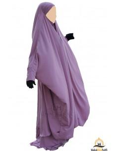 "Jilbab 2 pieces à clips ""jupe"" Umm Hafsa - Vieux Rose"