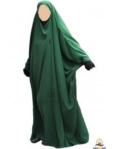 Saudi Jilbab mit Druckknöpfen Umm Hafsa - Grüne Tannenfarbe