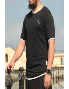 Übergroßes Rayane-T-Shirt aus 100% Baumwolle – Schwarz