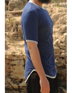Übergroßes Rayane-T-Shirt aus 100% Baumwolle – Blau