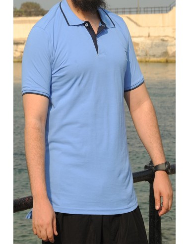 Oversized polo shirt 100% cotton Rayane - Royal blue