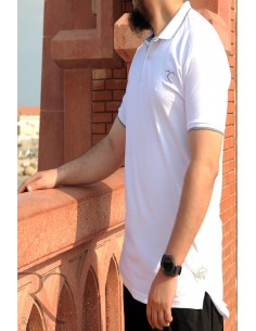 Oversized polo shirt 100% cotton Rayane - White