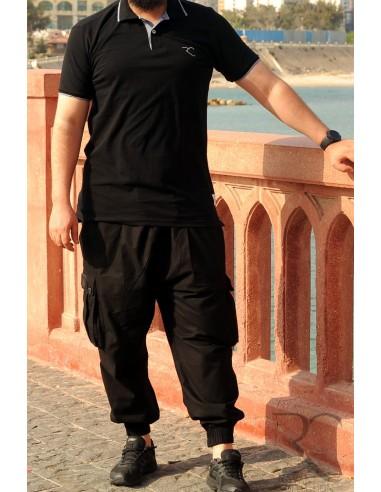 Oversized polo shirt 100% cotton Rayane - Black