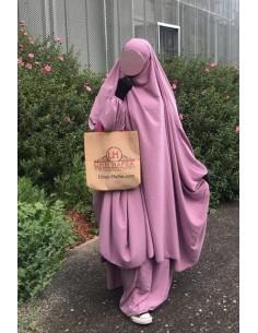 "Big jilbab deux pièces ""JUPE"" umm hafsa – Vieux Rose"
