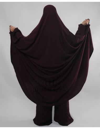 """Jilbab Hafsa 2 pieces """"Sarouel"""" Umm Hafsa – Prune"""