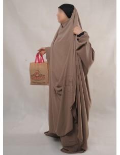 """Jilbab Hafsa 2 pieces """"Sarouel"""" Umm Hafsa – Taupe"""