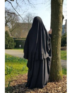 Abaya/Hijab Cape Umm Hafsa - Schwarz