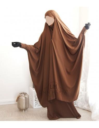 Jilbab 2 pieces a clips Umm Hafsa - Cannelle