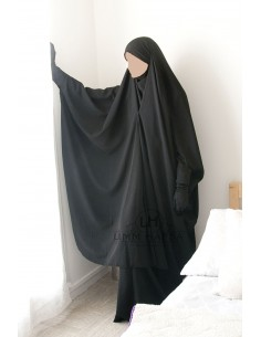 "Two Piece Jilbab Snap Buttons ""Skirt"" Umm Hafsa - Black"