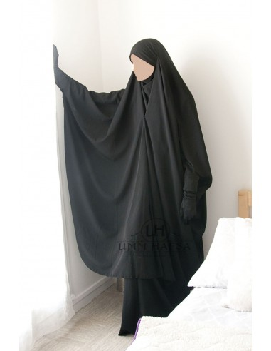 Jilbab 2 pieces a clips Umm Hafsa - Black