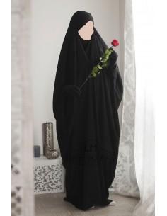 Saudi Jilbab With Snap Buttons Umm Hafsa - Black