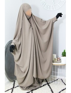 "Two Piece Jilbab Snap Buttons ""Skirt"" Umm Hafsa - Taupe"