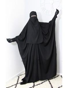 """Saudi Jilbab mit Druckknöpfen Umm Hafsa """"Luxux Nidha"""" - Schwarz"""