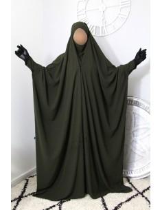 "Jilbab saoudien à clips Umm Hafsa ""Caviary luxe"" - Kaki"