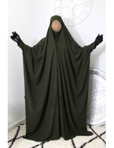 "Saudi Jilbab With Snap Buttons Umm Hafsa ""Luxury Caviary"" - Green"