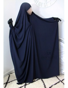 "Saudi Jilbab With Snap Buttons Umm Hafsa ""Luxury Caviary"" - Blue"