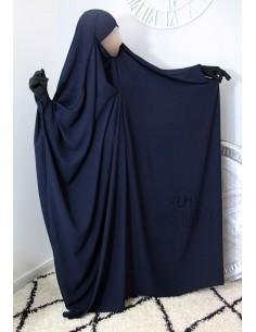 "Saudi Jilbab With Snap Buttons Umm Hafsa ""Luxury Caviary"" - Blue"