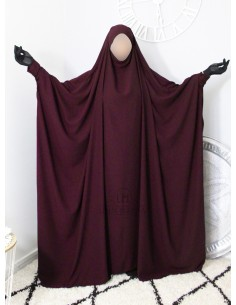 "Saudi Jilbab With Snap Buttons Umm Hafsa ""Luxury Caviary"" - Purple"