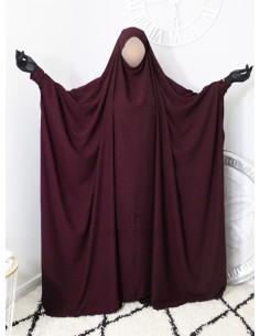 "Saudi Jilbab With Snap Buttons Umm Hafsa ""Luxury Caviary"" - Purple"
