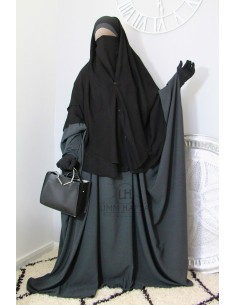 Two Piece Niqab with Snap Buttons Umm Hafsa 1m50 - Black