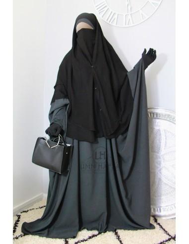 Niqab 2 Stück Clips Umm Hafsa 1m50 - Schwarz