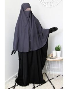 Niqab 2 Pièces à Clips Umm Hafsa 1m50 - Gris