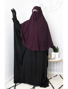 Niqab 2 Pièces à Clips Umm Hafsa 1m25 - Prune