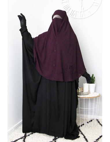 Niqab 2 Pièces à Clips Umm Hafsa - Prune