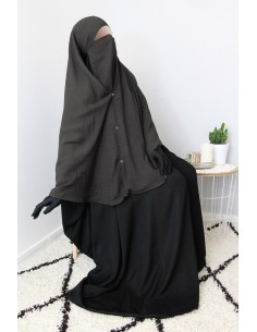 Niqab 2 Pièces à Clips Umm Hafsa 1m25 - Gris