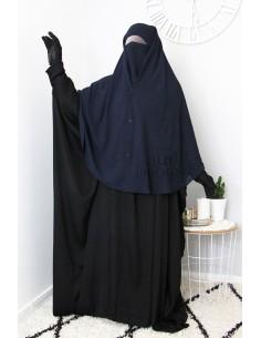 Niqab 2 Pièces à Clips Umm Hafsa 1m25 - Bleu