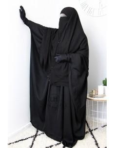Niqab 2 Pièces à Clips Umm Hafsa 1m25- Noir