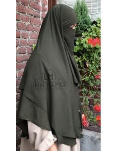 Niqab 2 Pièces à Clips Umm Hafsa 1m25 - Kaki