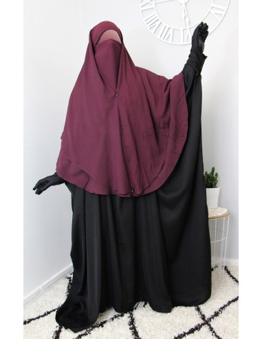 Two Piece Niqab with Snap Buttons Umm Hafsa 1m50 - Purple