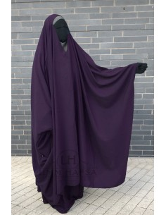 "OPEN ""V"" NECK Big Jilbab 2pcs Umm Hafsa – Eggplant"
