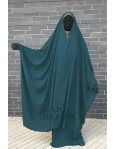 "OPEN ""V"" NECK Big Jilbab 2pcs Umm Hafsa – Green Duck"