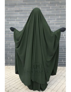 "OPEN ""V"" NECK Big Jilbab 2pcs Umm Hafsa – Green"
