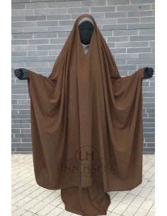 "OPEN ""V"" NECK Big Jilbab 2pcs Umm Hafsa – Cinnamon"